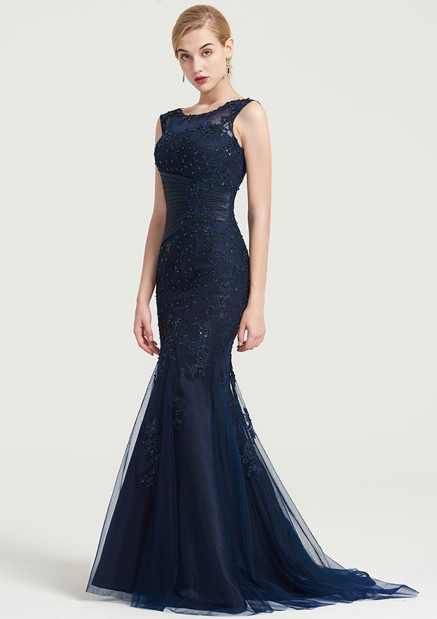Trumpet/Mermaid Scoop Neck Sleeveless Sweep Train Tulle Dress With Pleated Appliqued Beading