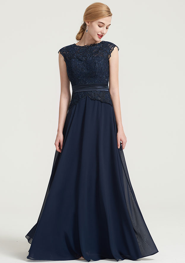 79117ae1da8990 A-Line/Princess Bateau Sleeveless Long/Floor-Length Chiffon Dress With Lace  Pleated