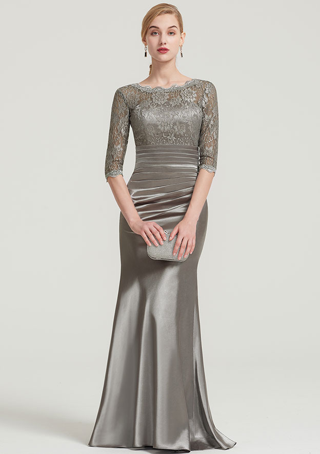 Sheath/Column Bateau Half Sleeve Long/Floor-Length Charmeuse Dress With Lace Pleated