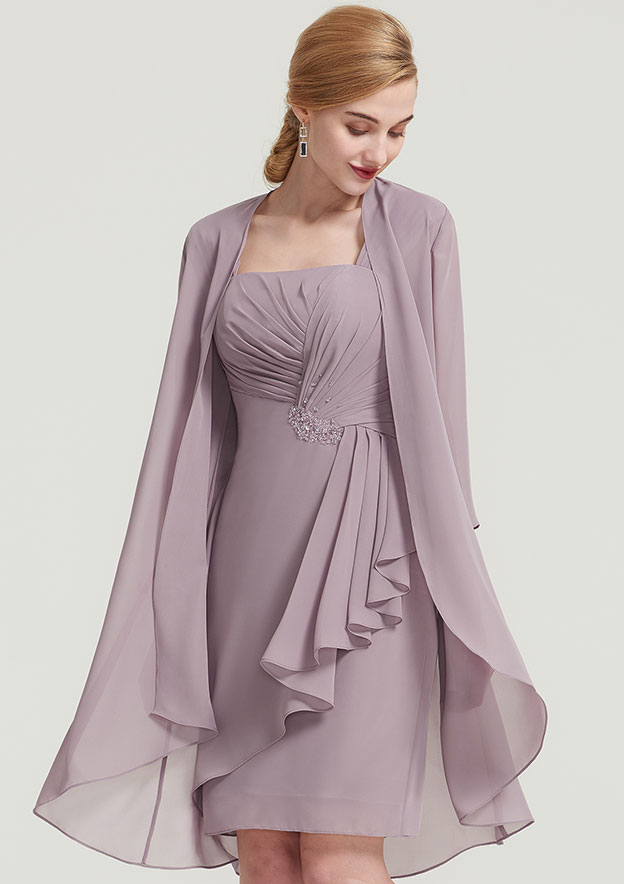 Sheath/Column Square Neckline Sleeveless Knee-Length Chiffon Mother Of The Bride Dress With Jacket Pleated