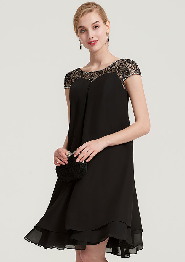 A-Line/Princess Bateau Short Sleeve Knee-Length Chiffon Mother Of The Bride Dress With Beading Ruffles