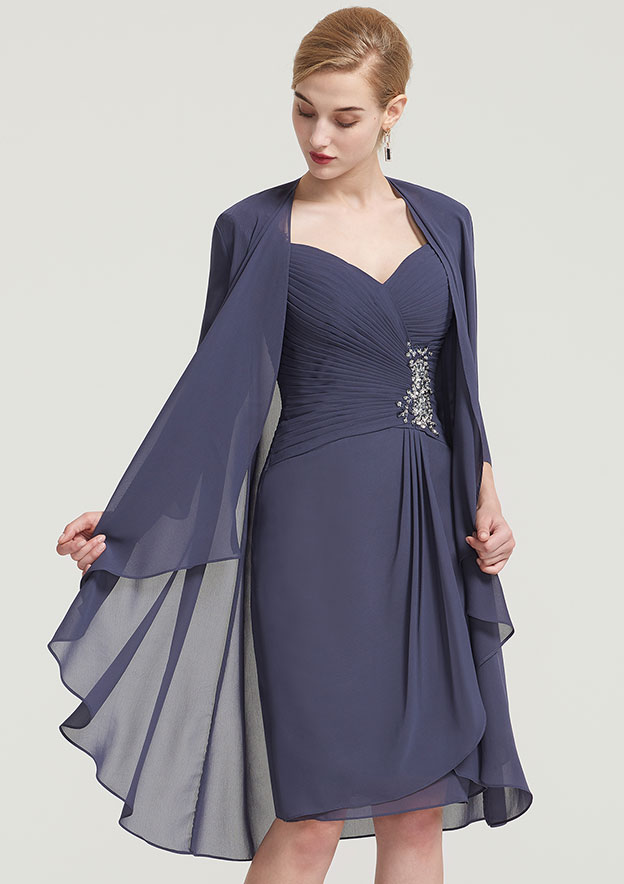 Sheath/Column Scalloped Neck 3/4 Sleeve Knee-Length Chiffon Mother Of The Bride Dress With Pleated Beading Appliqued
