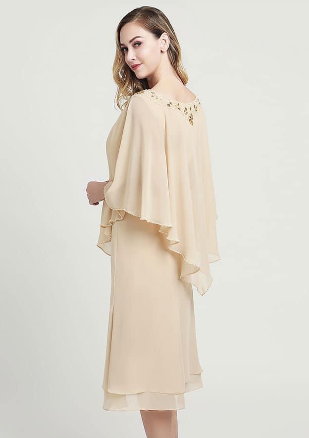 A-line/Princess V Neck Half Sleeve Tea-Length Chiffon Mother of the Bride Dress With Beading