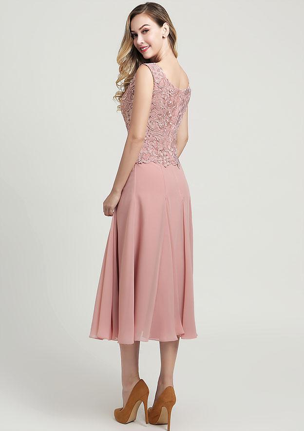 A-line/Princess Square Neckline Sleeveless Tea-Length Chiffon Mother of the Bride Dress With Jacket Ruffles