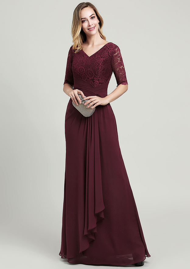 A-line/Princess V Neck Half Sleeve Long/Floor-Length Chiffon Mother of the Bride Dress With Ruffles Pleated Lace