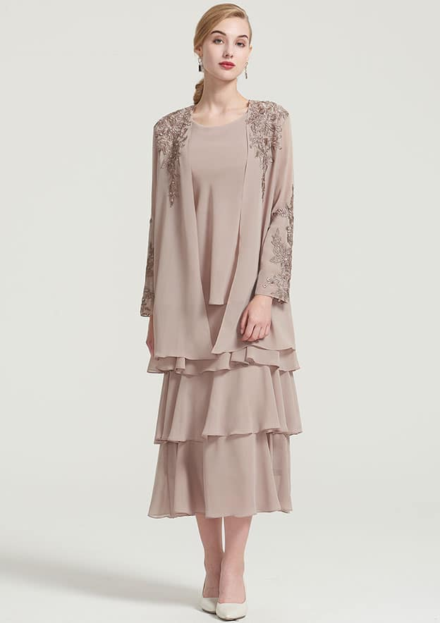 A-Line/Princess Scoop Neck Sleeveless Tea-Length Chiffon Mother Of The Bride Dress With Jacket Ruffles Appliqued