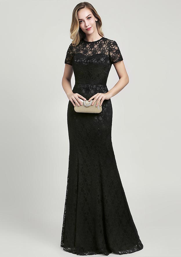 Sheath/Column Scoop Neck Short Sleeve Long/Floor-Length Lace Mother of the Bride Dress