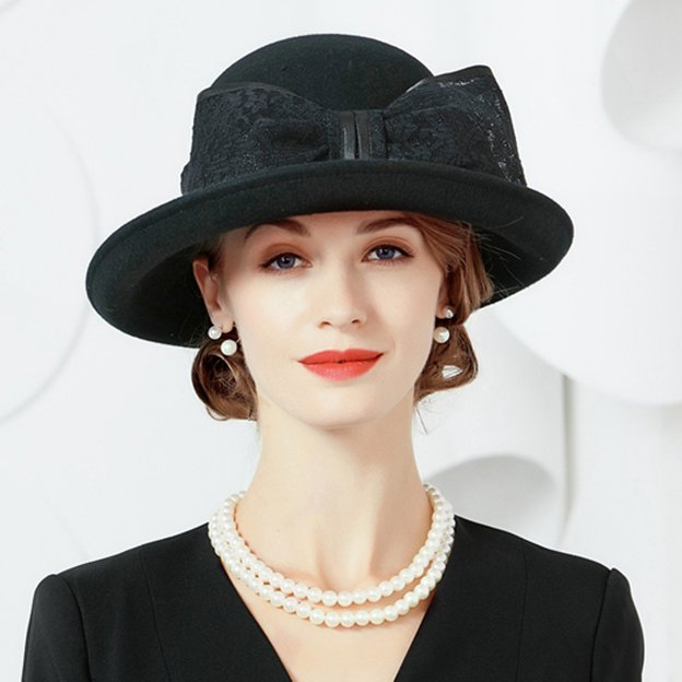 Ladies' Elegant/Classic Wool Bowler/Cloche Hats/Tea Party Hats With Bowknot