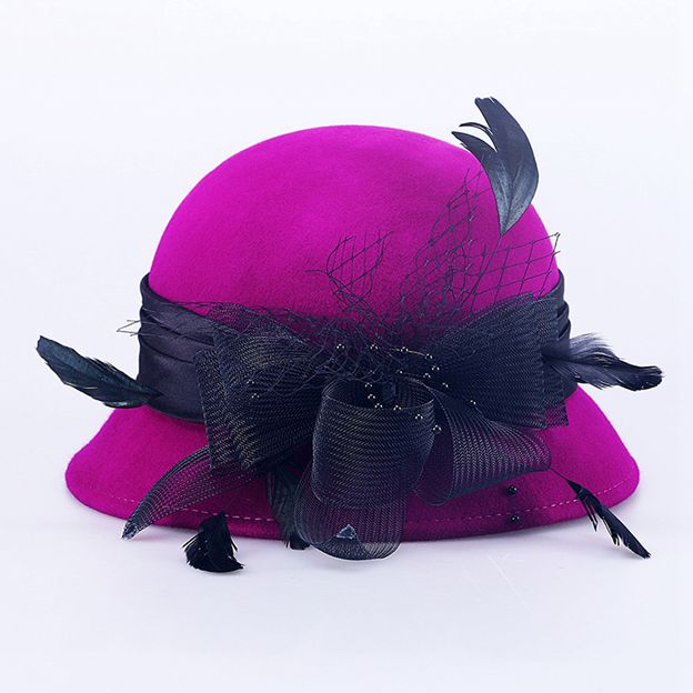 Ladies' Elegant/Eye-catching Wool Bowler/Cloche Hats/Tea Party Hats With Bowknot Tulle Feather