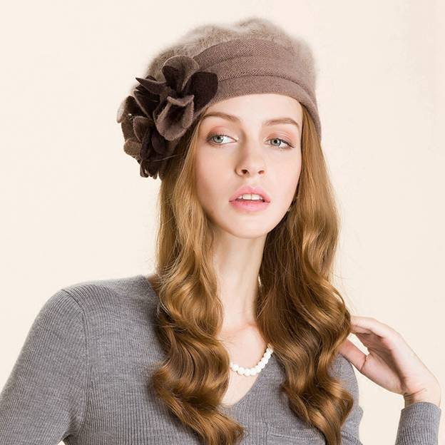 Ladies' Charming Cony Hair Floppy Hats/Beanie/Slouchy With Flower