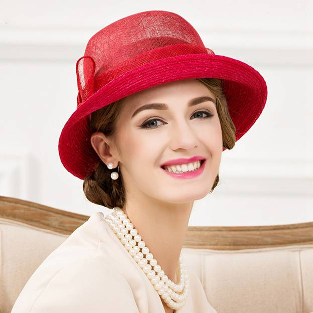Ladies' Elegant/Beautiful Cambric Wheat Straw Floppy Hats/Tea Party Hats With Bowknot