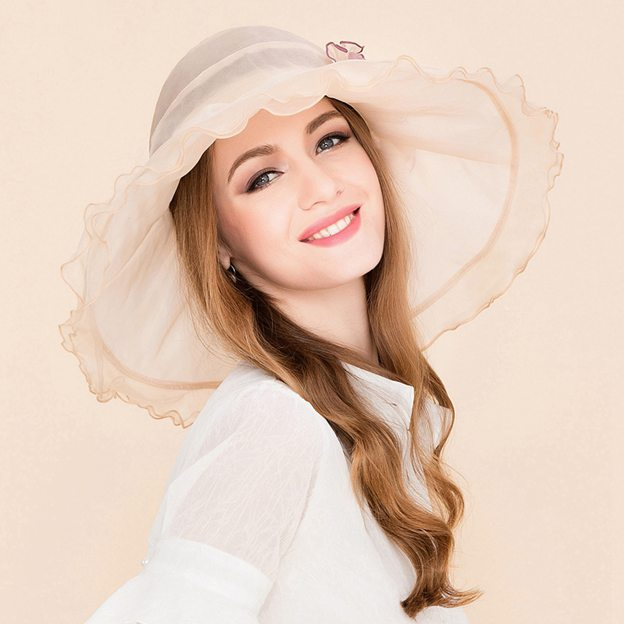 Ladies' Charming/Fancy Silk Floppy Hats/Kentucky Derby Hats With Flower