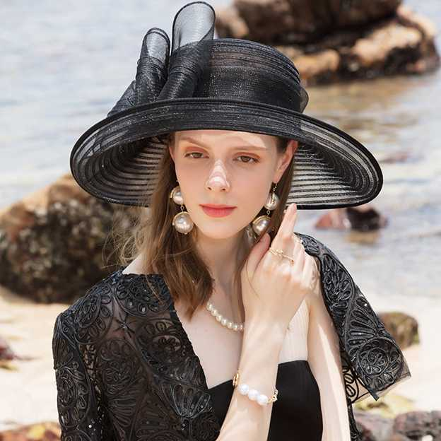 Ladies' Glamourous Polyester Tea Party Hats/Kentucky Derby Hats/Beach/Sun Hats With Bowknot