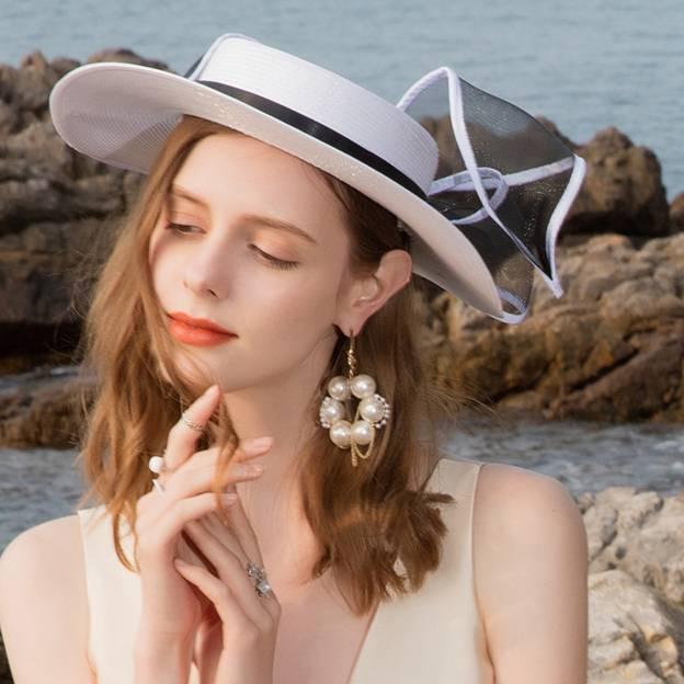 Ladies' Beautiful/Elegant Pp Straw Hats/Beach/Sun Hats/Floppy Hats With Bowknot