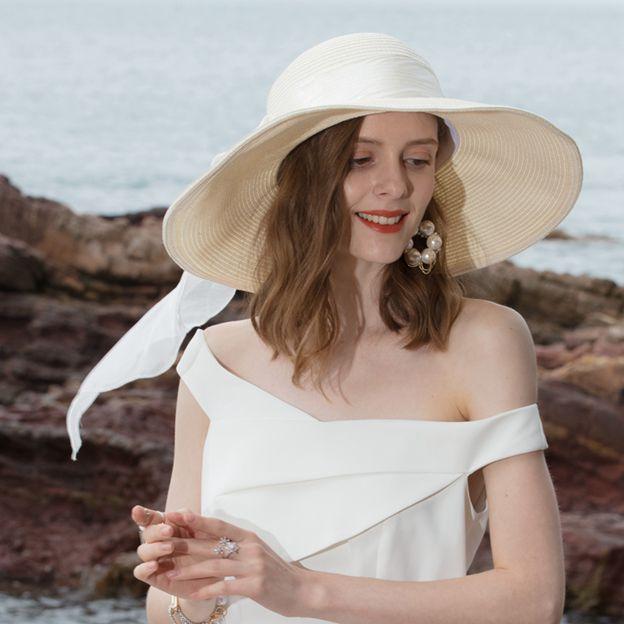 Ladies' Glamourous/Elegant Rattan Straw Straw Hats/Beach/Sun Hats With Bowknot
