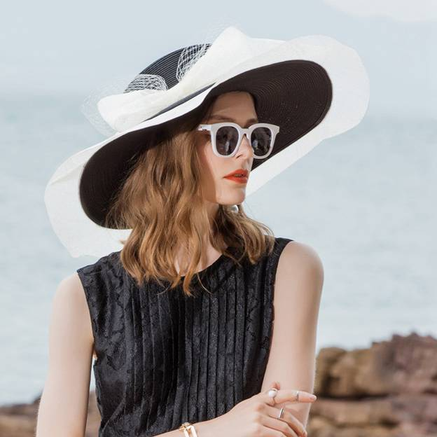 Ladies' Beautiful/Glamourous Pp Straw Hats Beach/Sun Hats/Floppy Hats With Bowknot Tulle