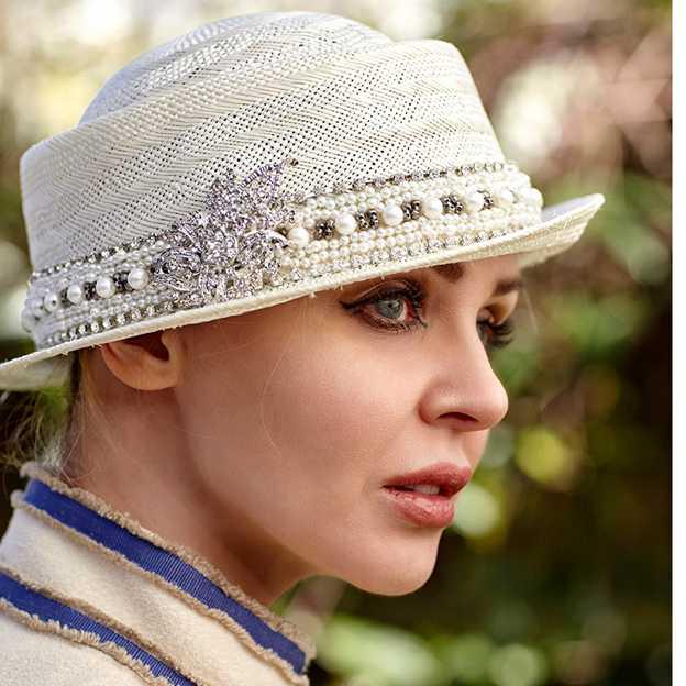 Ladies' High Quality/Simple Linen Straw Hats/Beach/Sun Hats With Imitation Pearls Diamond