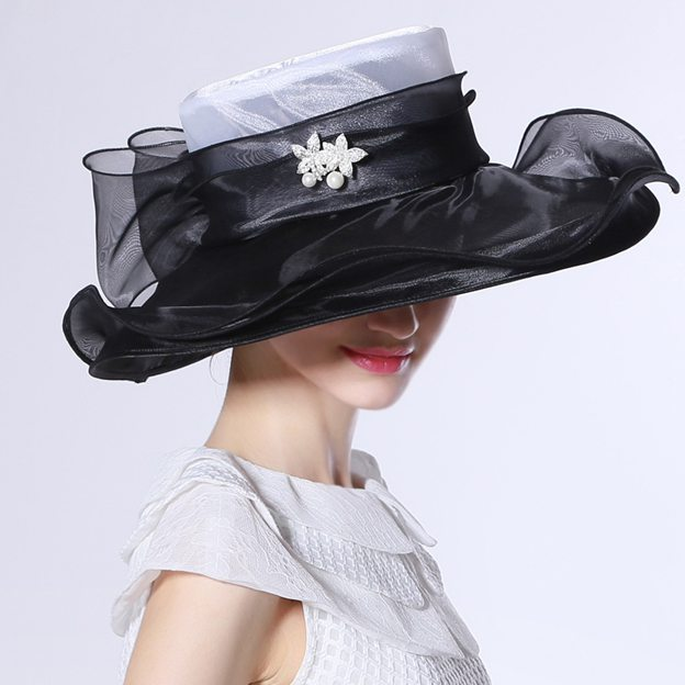 Ladies' Special/Elegant Organza Tea Party Hats/Kentucky Derby Hats With Bowknot Diamond Imitation Pearls