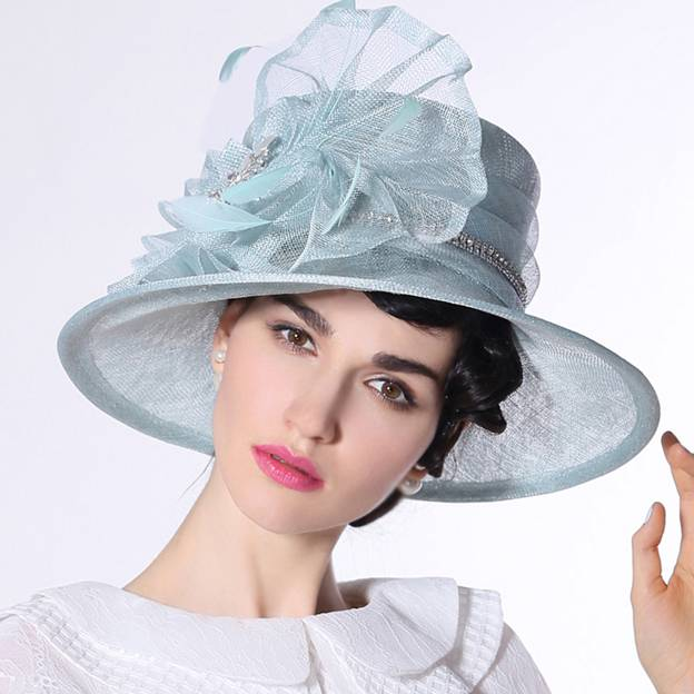 Ladies' Elegant/Beautiful Linen Tea Party Hats/Kentucky Derby Hats With Flower Diamond Feather
