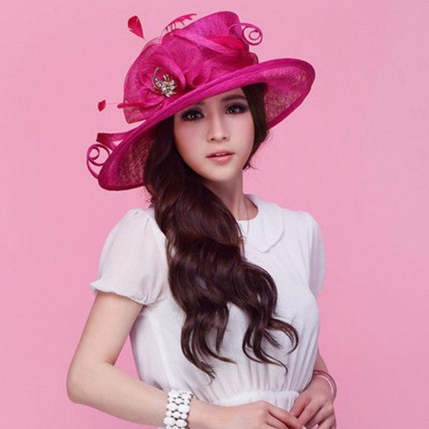 Ladies' Elegant/Beautiful Linen Beach/Sun Hats/Kentucky Derby Hats With Flower Feather Diamond