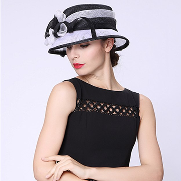 Ladies' Elegant/Beautiful Linen Beach/Sun Hats/Tea Party Hats With Flower