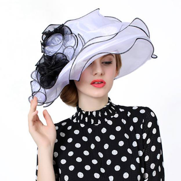 Ladies' Elegant/Beautiful Organza Beach/Sun Hats/Kentucky Derby Hats With Flower
