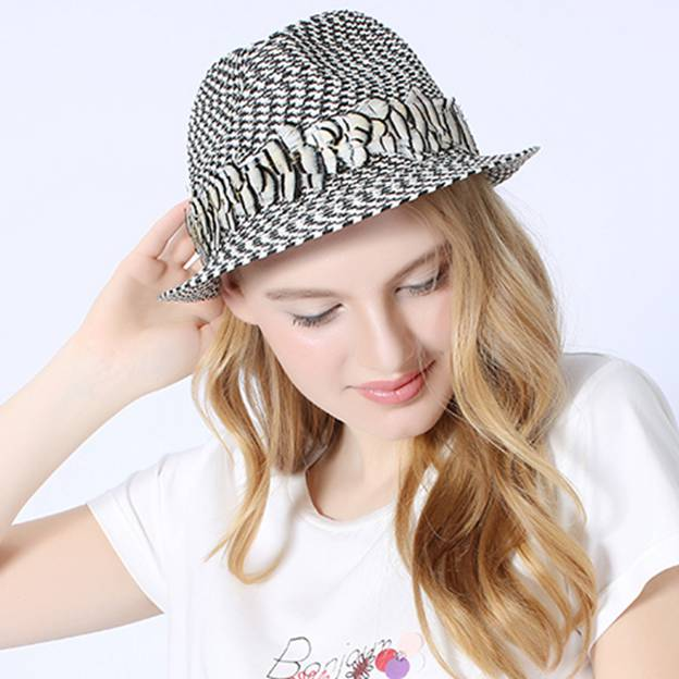 Ladies' Simple/Nice Papyrus Panama Hats/Beach/Sun Hats With Feather
