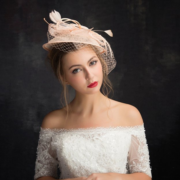 Ladies' Elegant/Beautiful Net Yarn Cambric Fascinators With Feather Flower