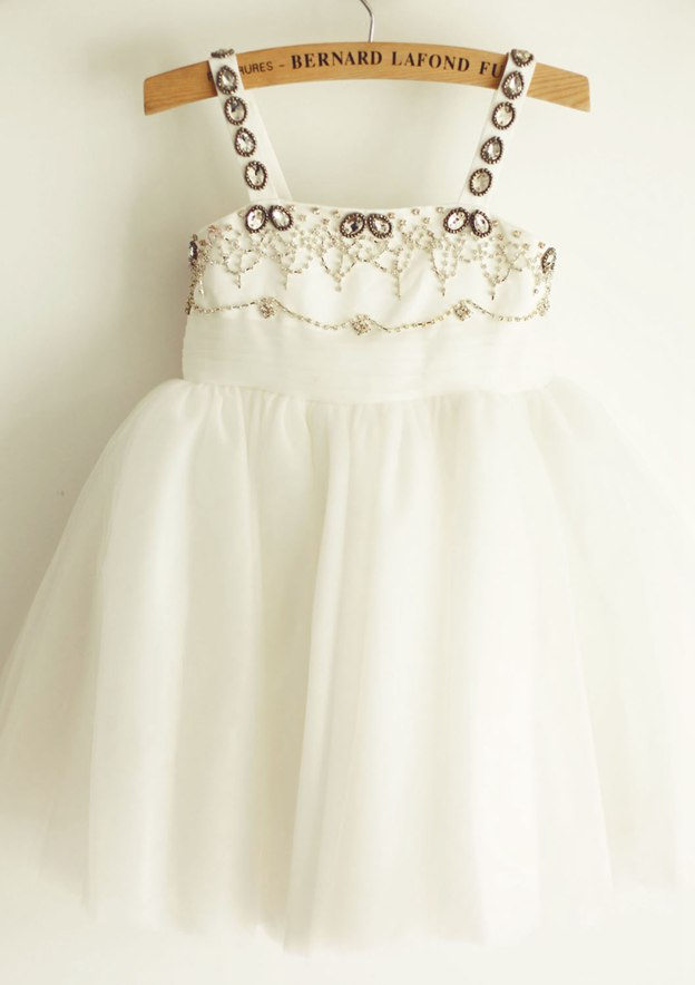 A-line/Princess Knee-Length Square Neckline Satin/Tulle Flower Girl Dress With Beading