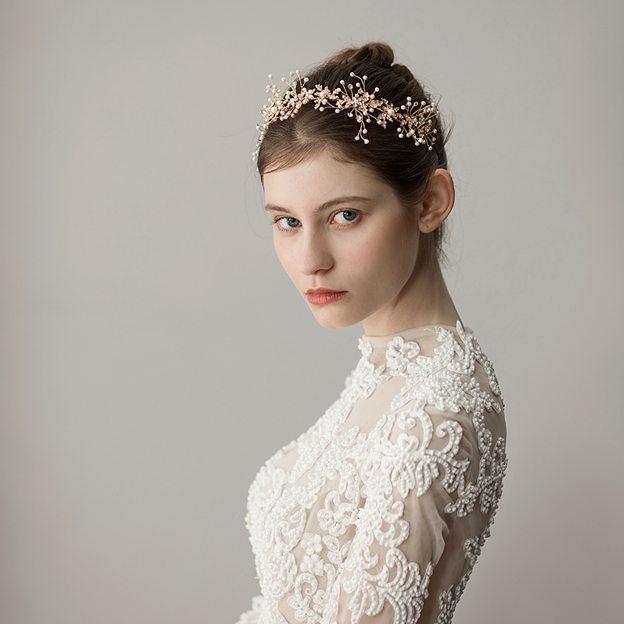 Ladies Alloy/Freshwater Pearl With Venetian Pearl/Rhinestone Headbands (Sold in single piece)