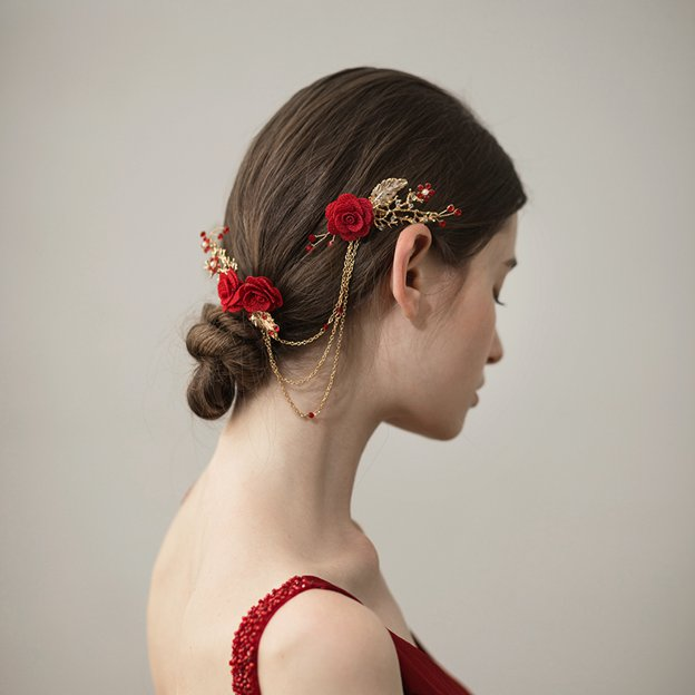 Ladies Beautiful/Special Alloy With Flower Rhinestone Combs & Barrettes (Sold in single piece)
