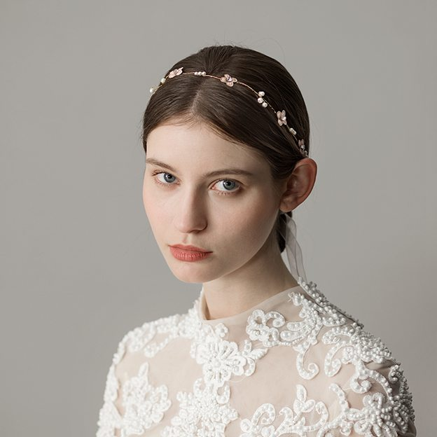 Ladies Imitation Pearls With Flower Venetian Pearl/Rhinestone Headbands (Sold in single piece)