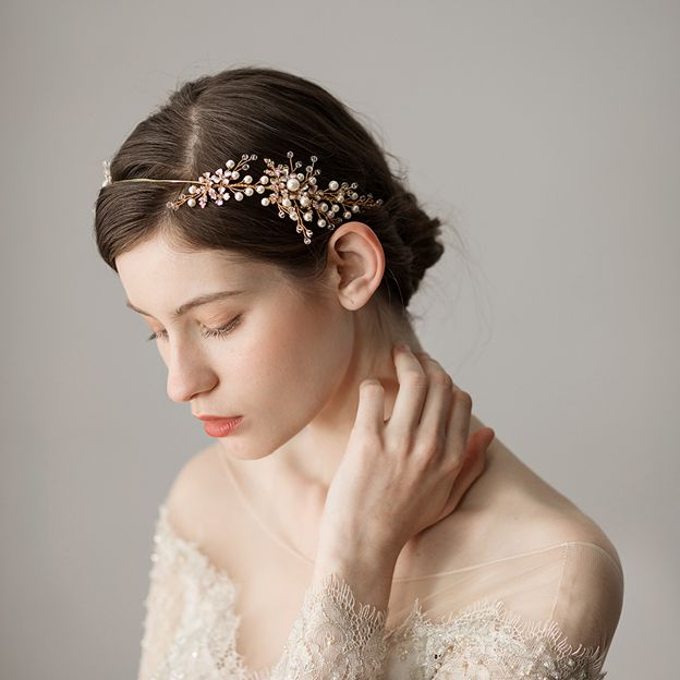 Ladies Alloy/Imitation Pearls With Venetian Pearl Headbands (Sold in single piece)