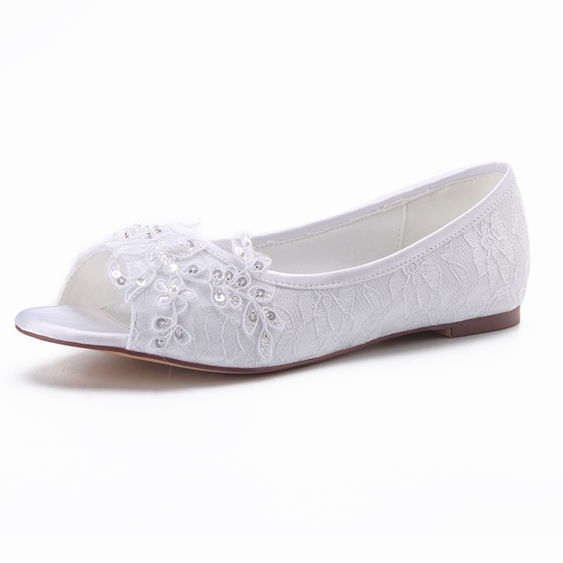 Women's Lace With Sequins/Imitation Pearl/Appliqued Flats Peep Toe Wedding Shoes