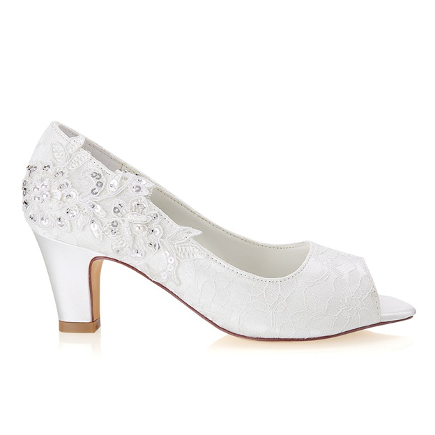 Women's Lace With Sequins/Imitation Pearl/Appliqued Peep Toe Heels Wedding Shoes