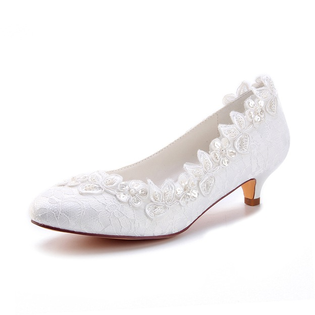 Women's Lace With Appliqued Close Toe Heels Wedding Shoes