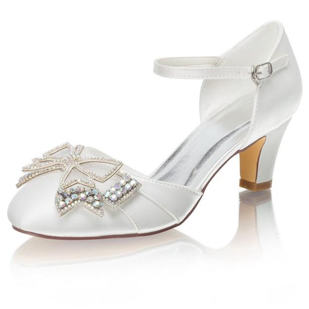 Women's Satin With Rhinestone/Bowknot Close Toe Heels Wedding Shoes