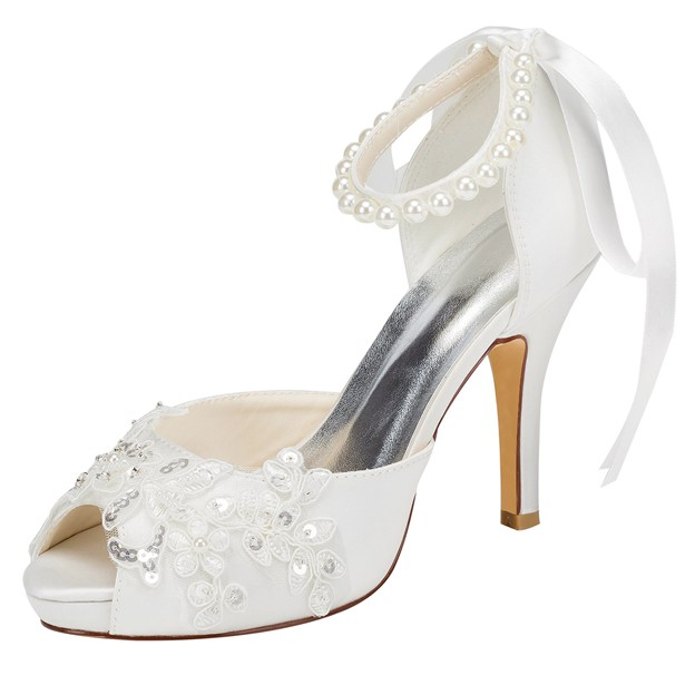 Women's Satin With Sequins/Bowknot/Beading Peep Toe Pumps Heels Wedding Shoes