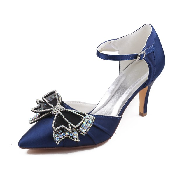 Women's Satin With Rhinestone/Buckle/Bowknot Heels Close Toe Wedding Shoes