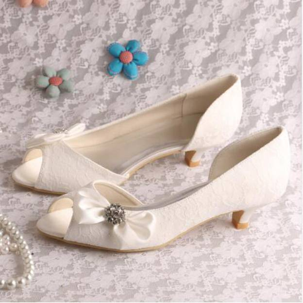 Women's Lace With Rhinestone/Bowknot Heels Pumps Peep Toe Wedding Shoes