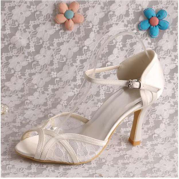 Women's Lace With Buckle Peep Toe Pumps Heels Wedding Shoes