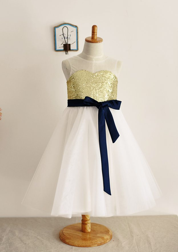 A-line/Princess Knee-Length Illusion Neck Tulle/Sequined Flower Girl Dress With Sashes