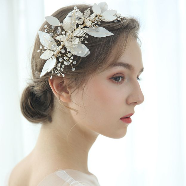 Ladies Beautiful/Elegant Leatherette/Voile With Flower/Rhinestone Combs & Barrettes