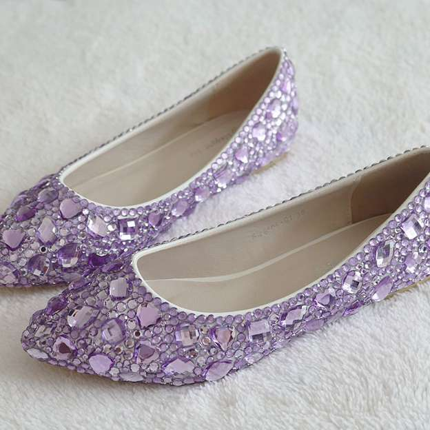Women's PU With Crystal Close Toe Flats Shoes