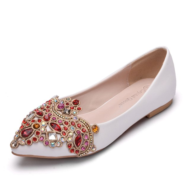 Women's PU With Rhinestone Close Toe Flats Wedding Shoes