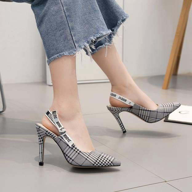 Women's Cloth With Ankle Strap Heels SlingBacks Close Toe Fashion Shoes