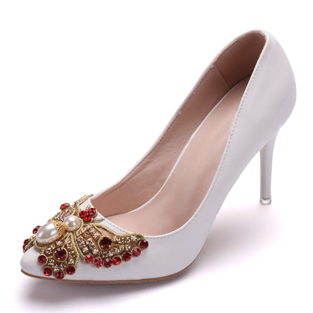 Women's PU With Rhinestone/Imitation Pearl Close Toe Heels Wedding Shoes