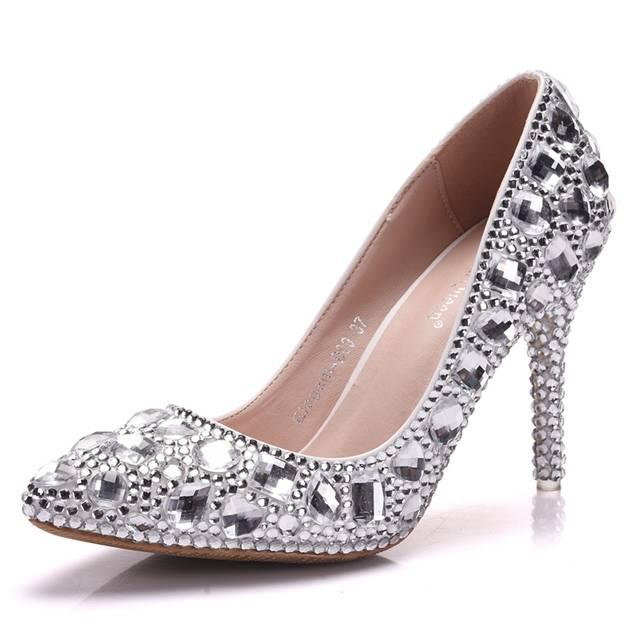 Women's PU With Rhinestone/Crystal Close Toe Heels Fashion Shoes