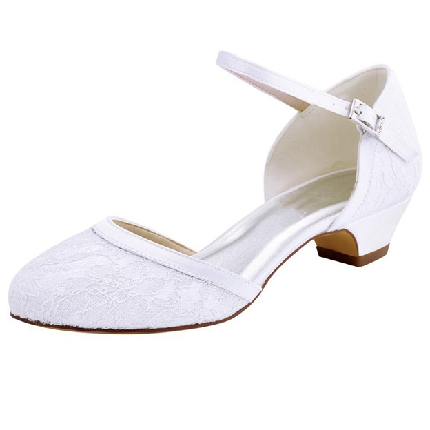 Women's Lace Satin With Buckle Close Toe Sandals Wedding Shoes