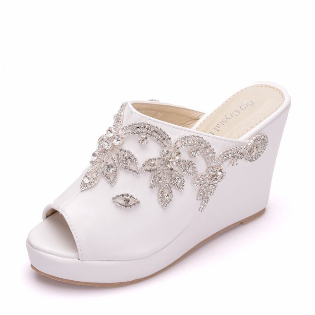 Women's Satin With Rhinestone Platform Wedges Wedding Shoes